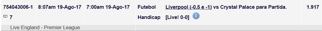 Tip ao Vivo - Liverpool v Crystal Palace