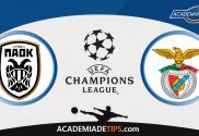 PAOK vs Benfica - Aposta Simples Gratuita de Hoje - Liga dos Campeões