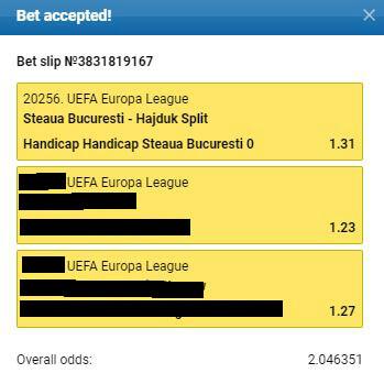 Steaua Bucuresti x Hajduk Split - UEFA Europa League Múltipla