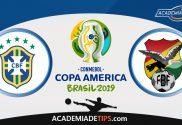 Brasil vs Bolívia, Prognóstico, Analise e Apostas - Copa América 2019