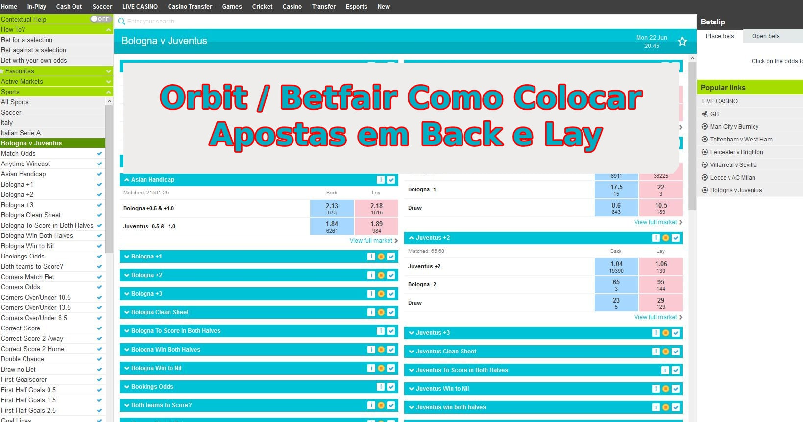 Orbit Betfair Como Colocar Apostas em Back e Lay - 2