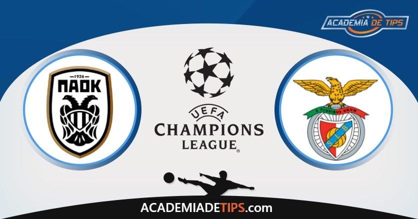 PAOK vs Benfica, Análise e Palpites de Apostas - Champions League