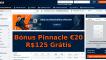 Bónus Pinnacle, Oferta Exclusiva Sem Rollover – €20 / R$125 Grátis Sem Depósito