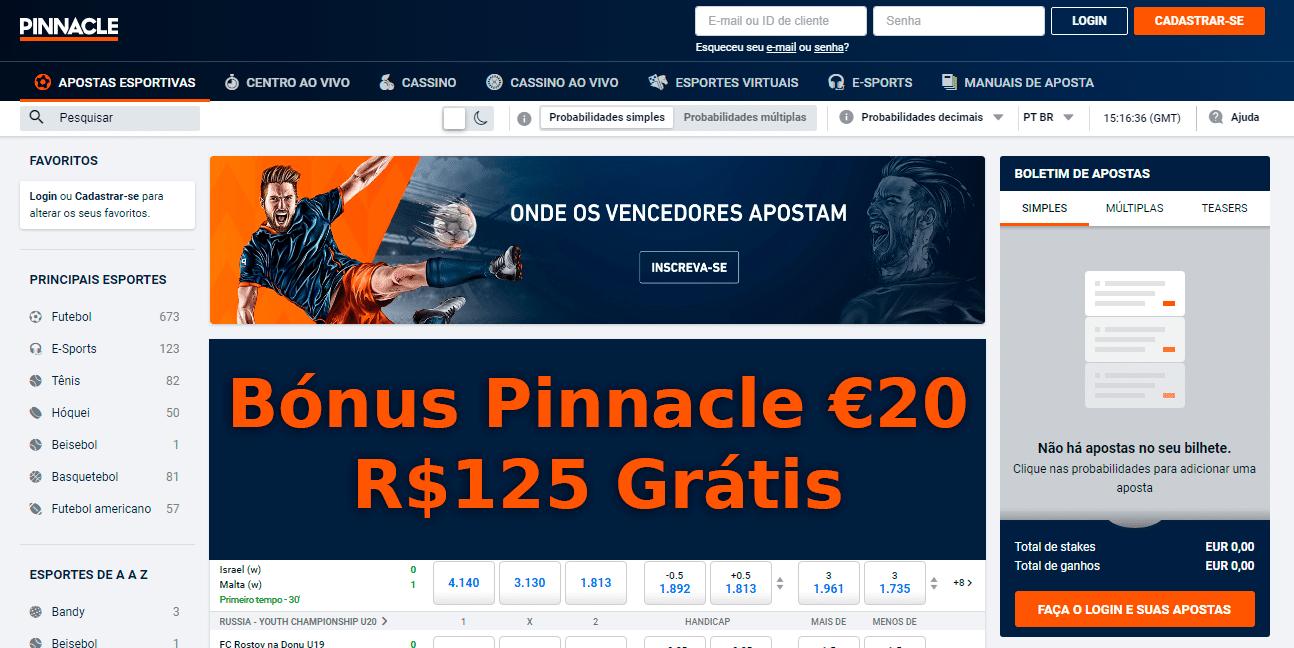 Bónus de Boas Vindas Exclusivo Pinnacle - Parceria Academia de Tips - 20€ Grátis Sem Rollover